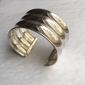 Italian Sterling Silver Wide Modern Cuff Bracelet